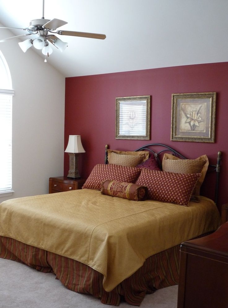 Master Bedroom With Red Accent Wall Paint