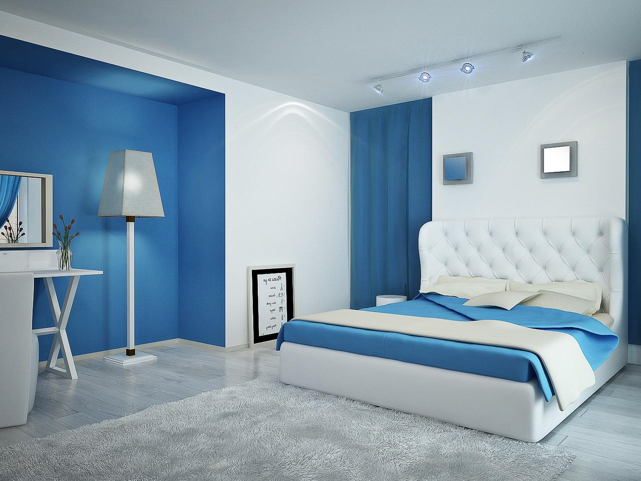 Simple Blue Color Paint Modern Bedroom