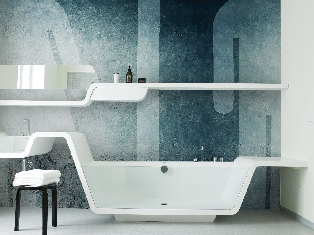Blue Modern Bathroom Wallpaper