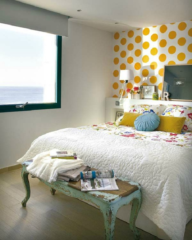 Bright Bedroom With Floral Wallart