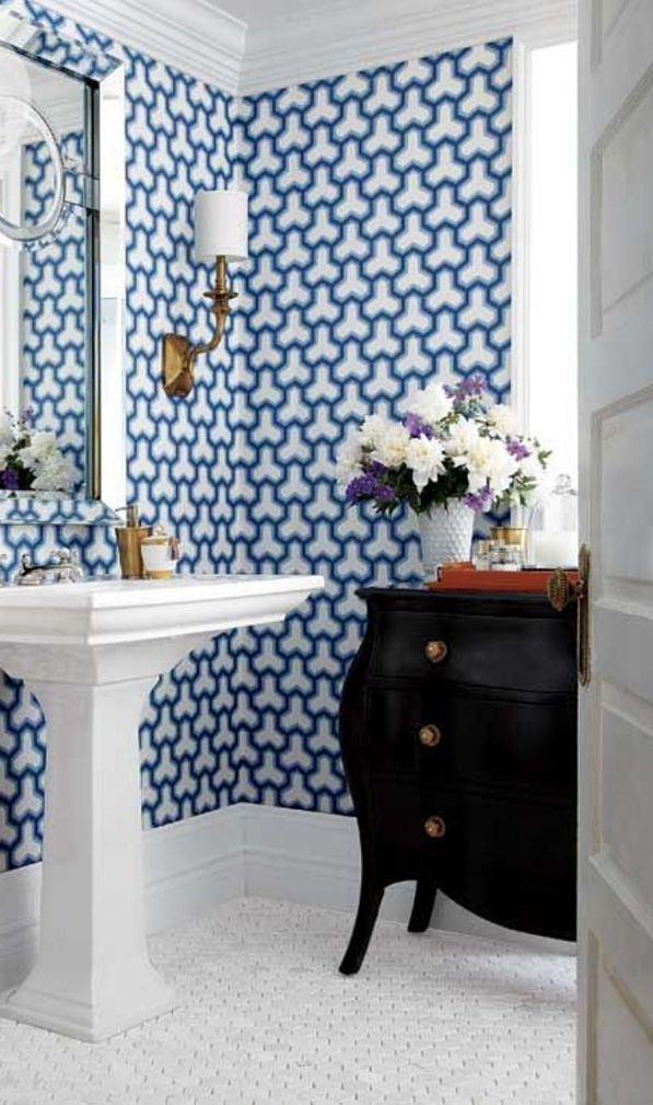 Cool Blue Bathroom Wallpaper