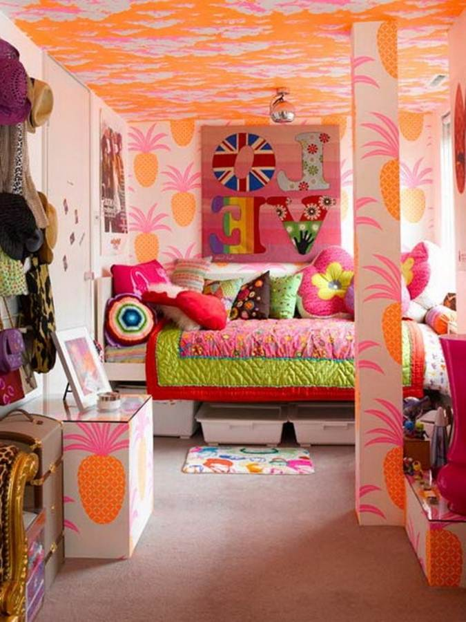 Orange Pineapple Girl Bedroom Wallpaper