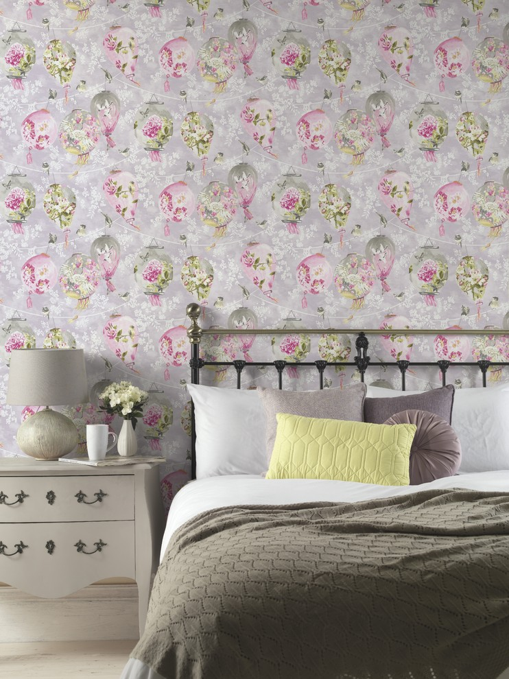 Asian Style Birds & Floral Bedroom Wallpaper