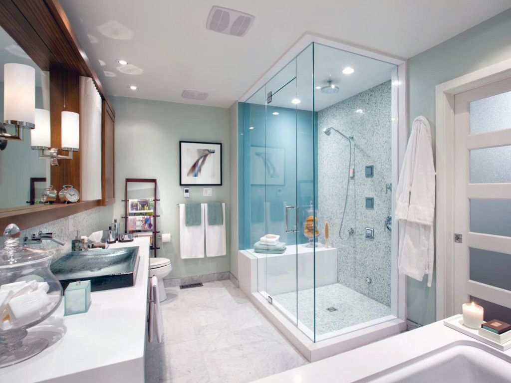 Clear Glass Bathroom And White Fibreglass