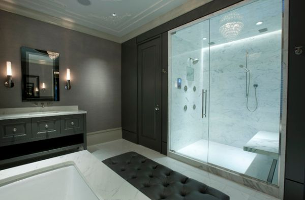 Master Bathroom With Glass Doors
