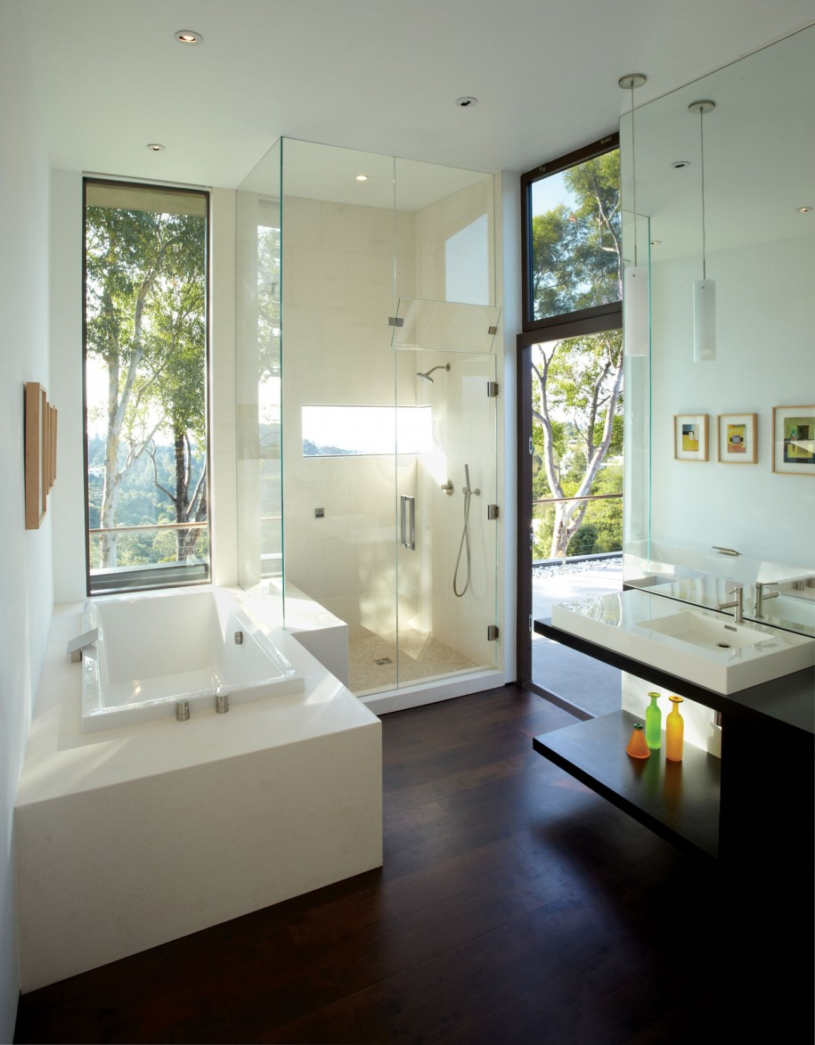 Modern Bathroom Glass Shower With Hardwood Flooring