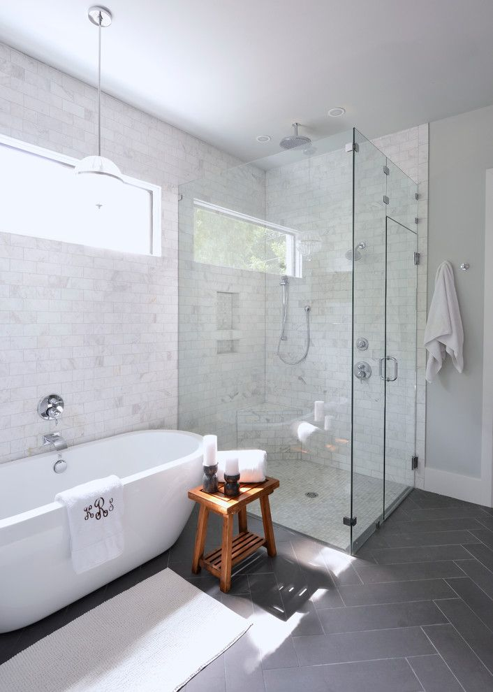 Modern White Bathroom With Glass Shower