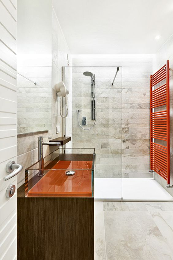 Orange Bathroom With Modern Glass Shower