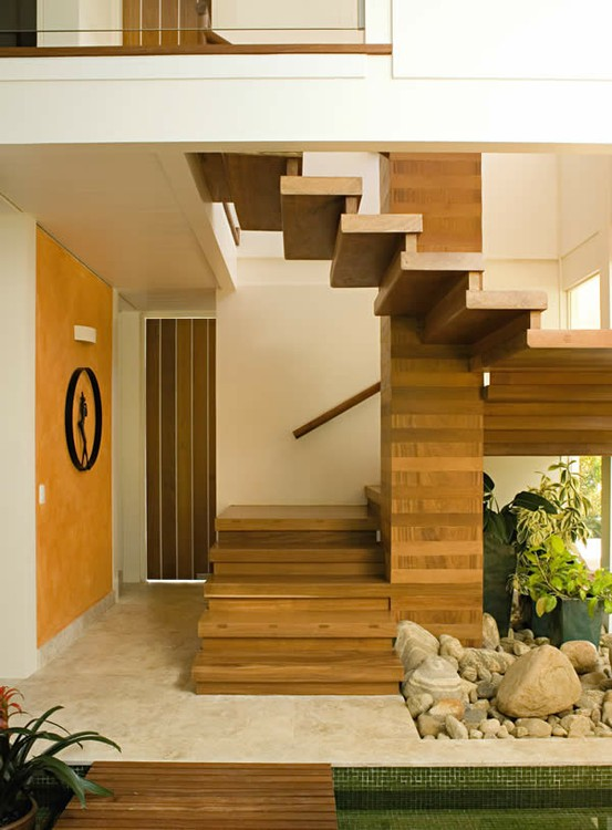 Wooden staircase with garden understairs