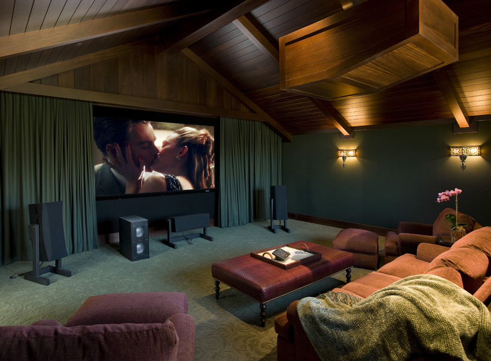 Beach Style Home Theater Design