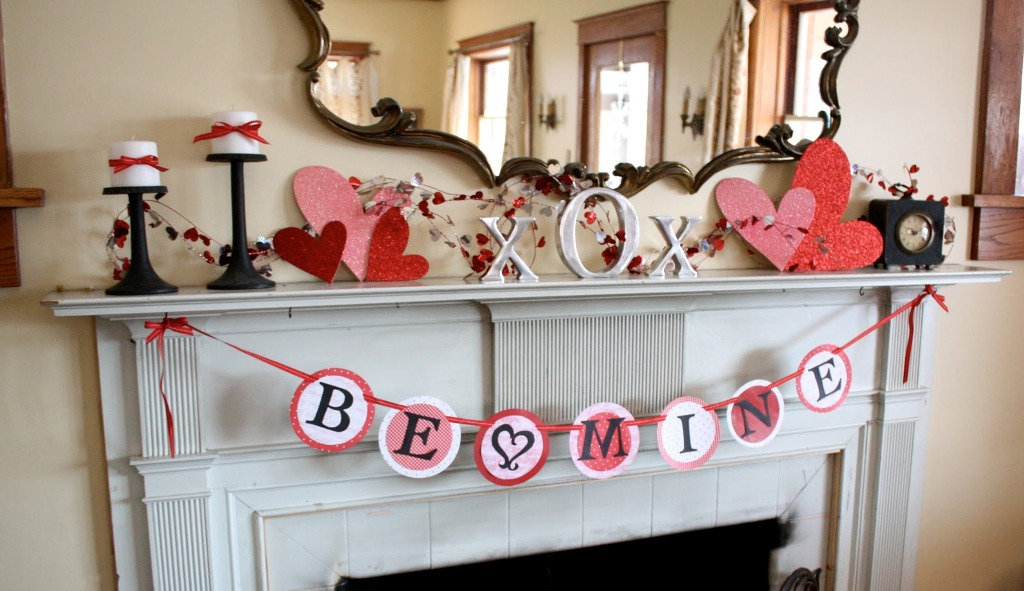 Valentines Day Fireplace Decoration