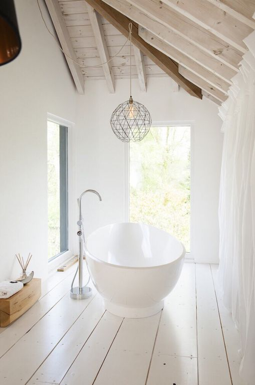 Contemporary Master Bathroom with Exposed Beam