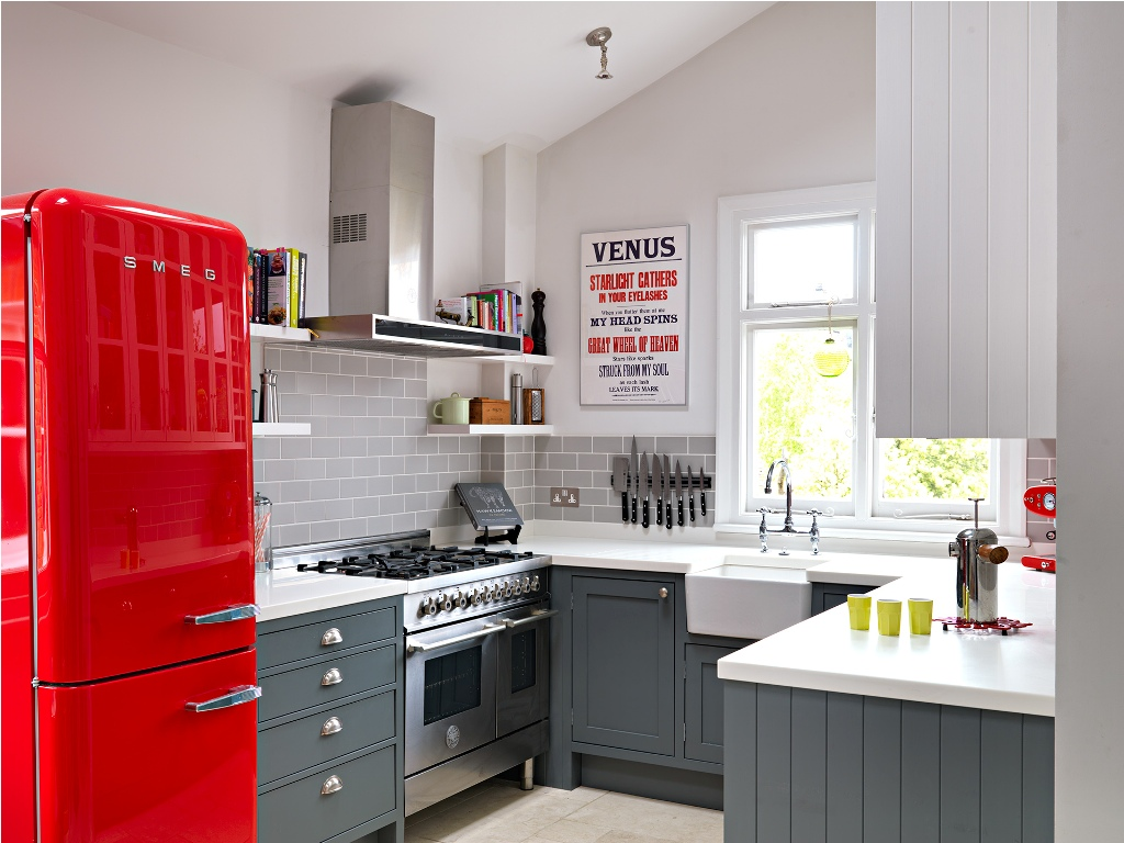 Retro Style Kitchen With Cherry Red Fridge
