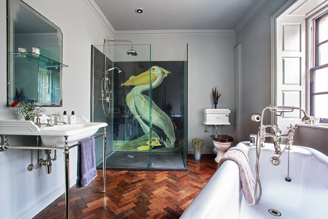 Artistic Bathroom With Beautiful Graphic In Shower Enclosure