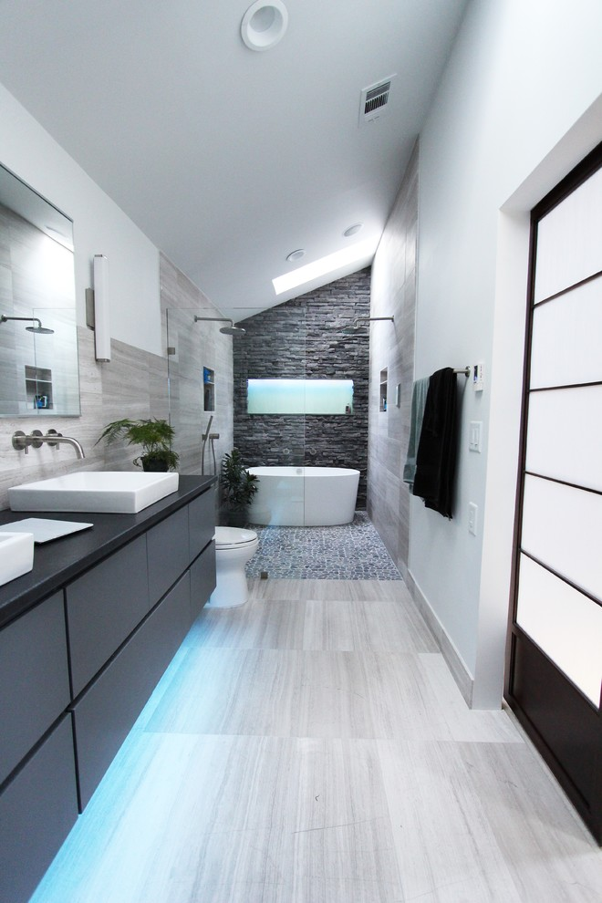 Cool Gray Contemporary Bathroom Design