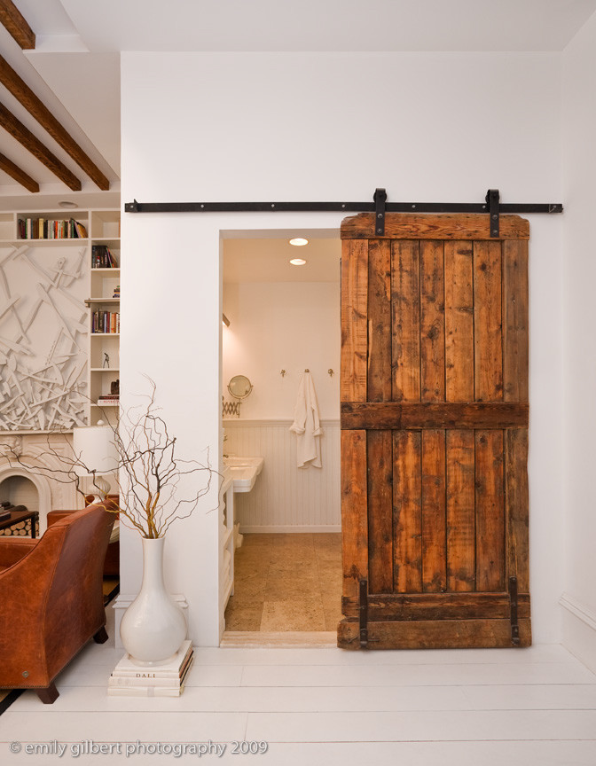 Eclectic Bathroom With Barn Door
