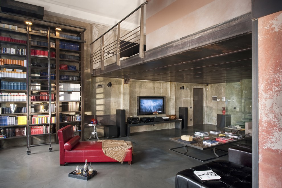 Large Industrial Living Room With Library Dwellingdecor