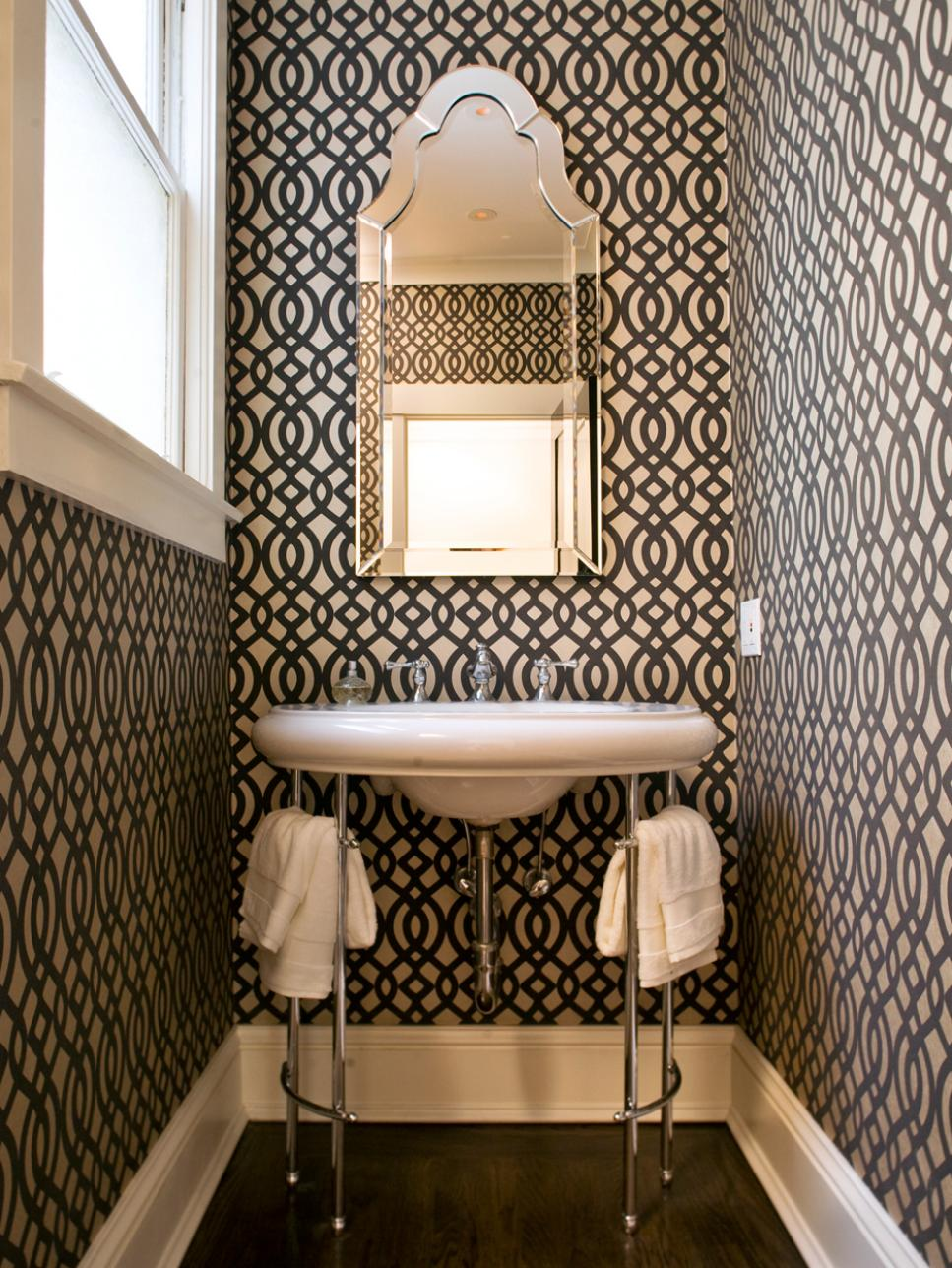 Narrow Bathroom Space With Wallpaper