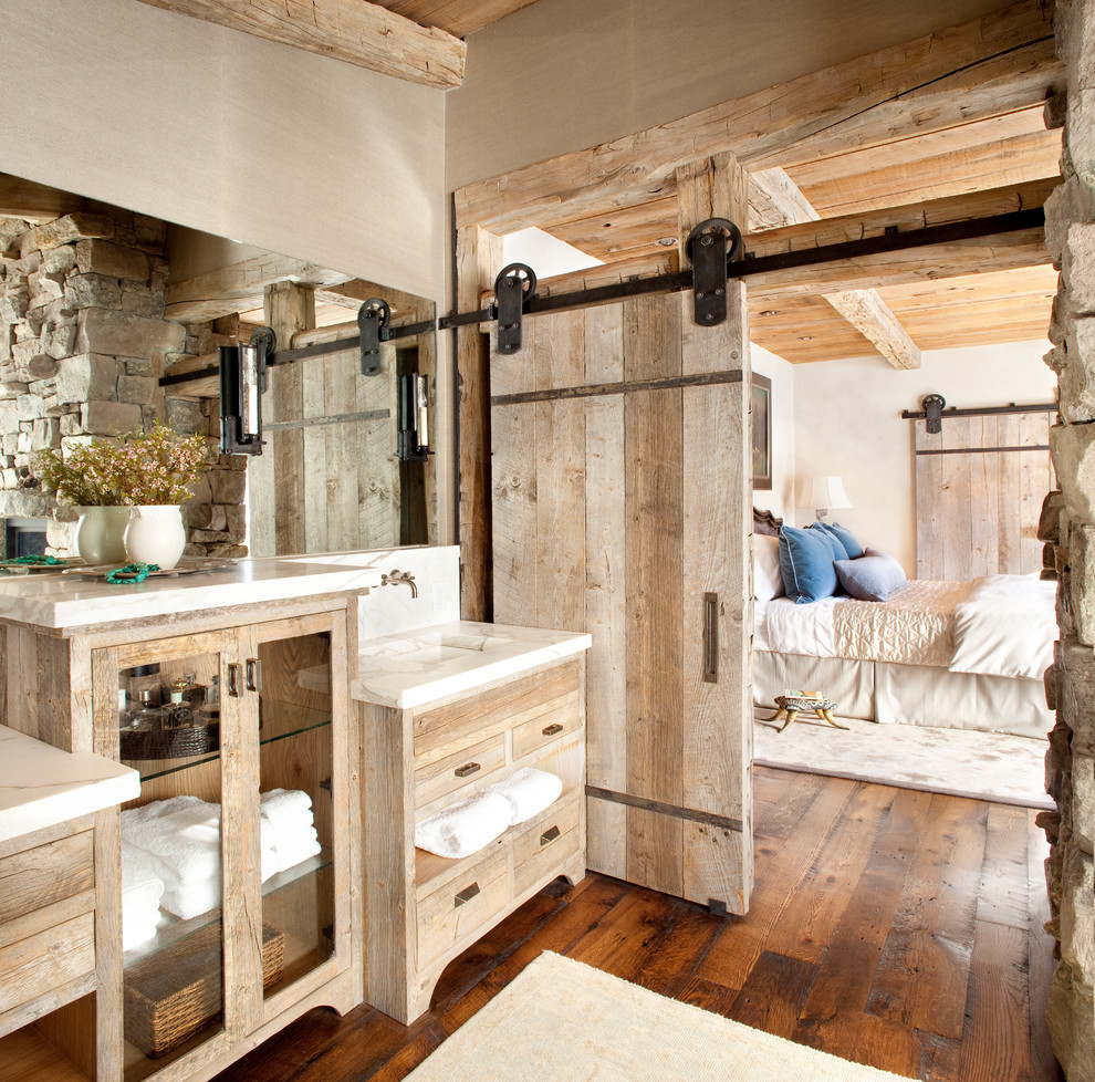 Rustic Bathroom With Distressed Cabinets