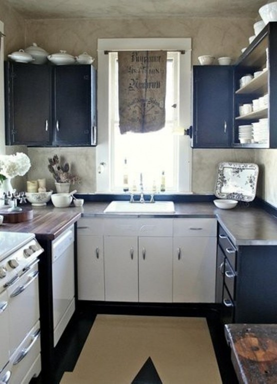 Creative Small Kitchen Ideas With Dark Blue Cabinets