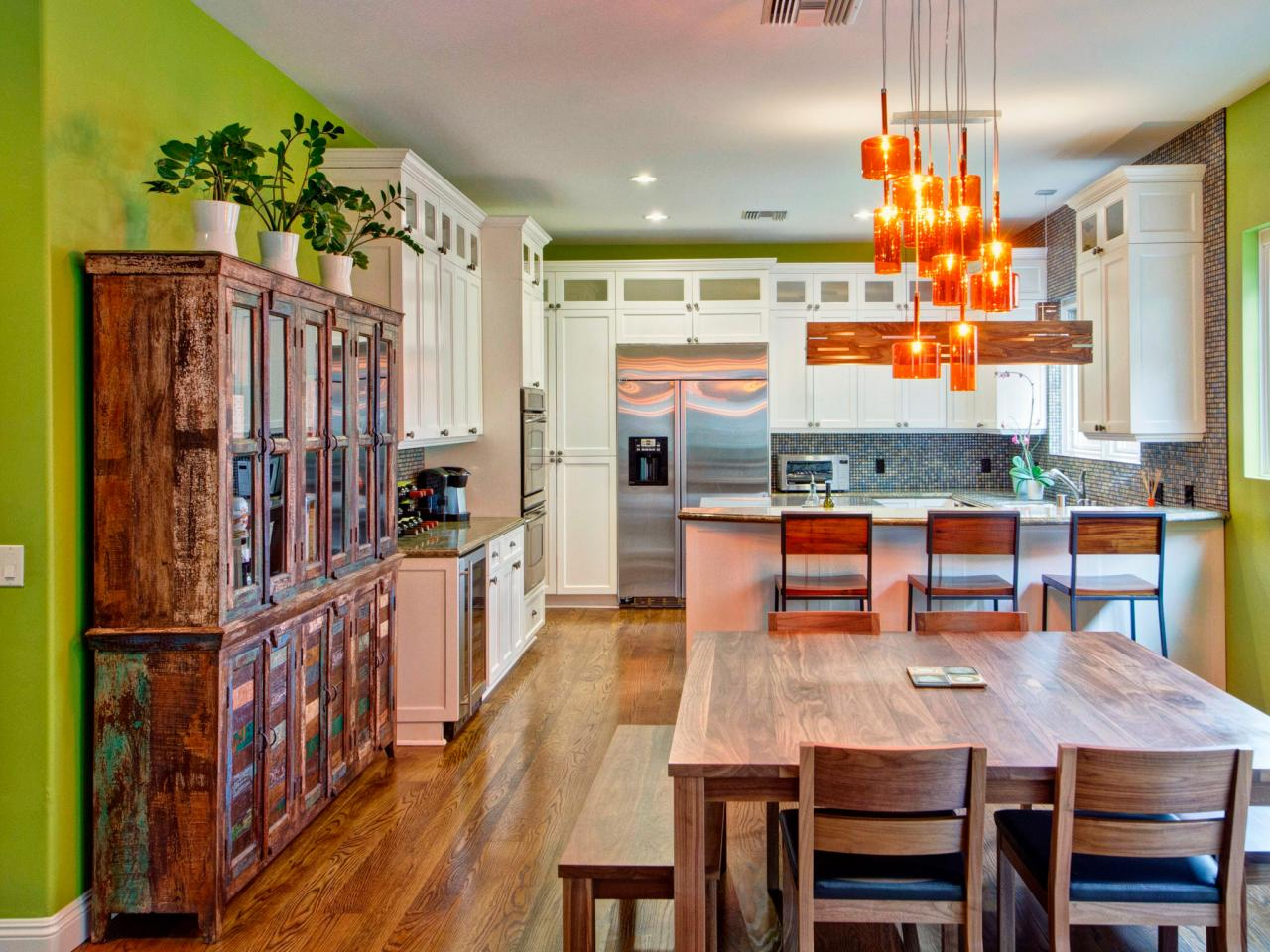 Green Eclectic Kitchen With Dark Brown Wooden Floor And Maple Cabinet Dwellingdecor