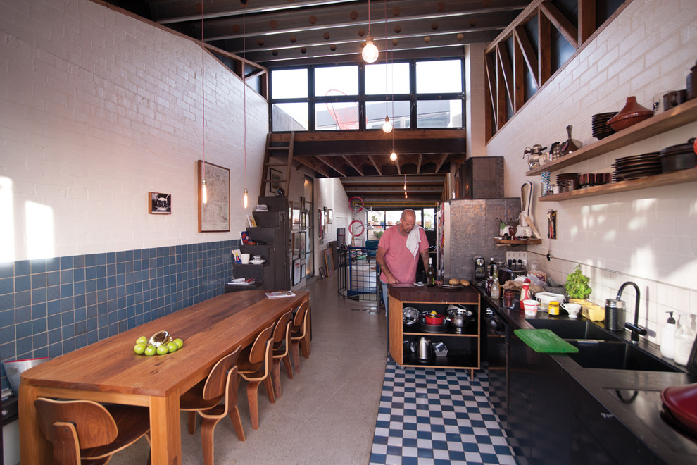 Open Plan Eclectic Kitchen and Dining Dwellingdecor