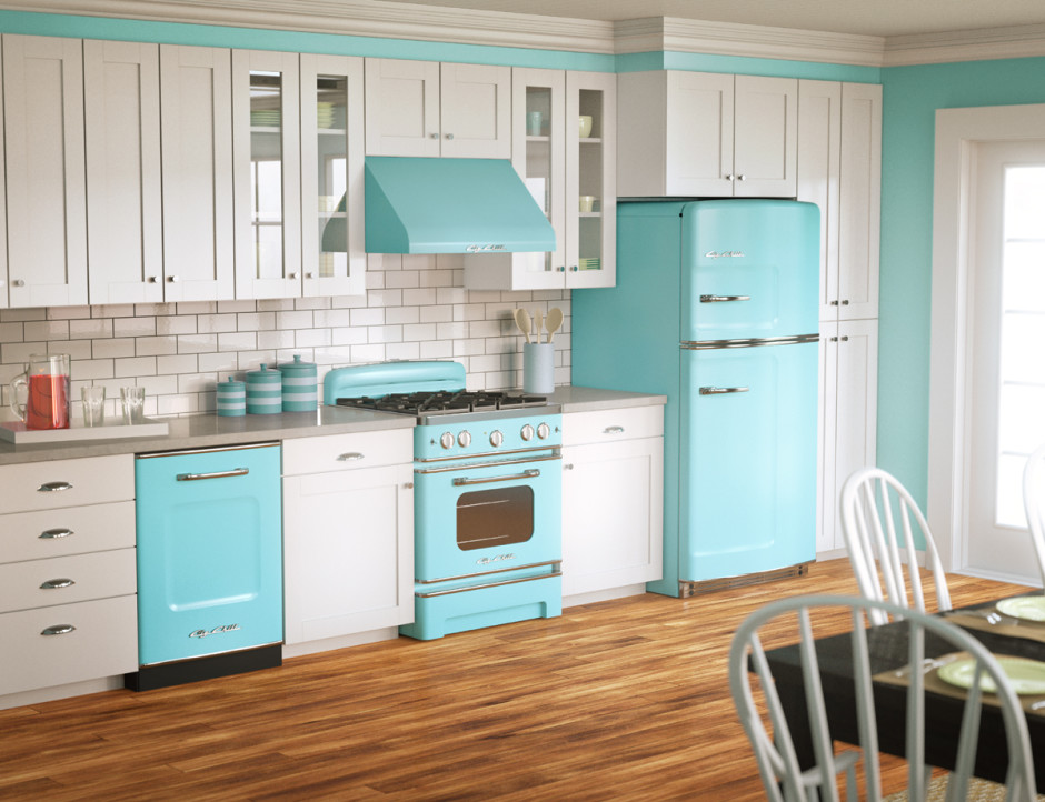 Small Kitchen With Turquoise Cabinet Dwellingdecor