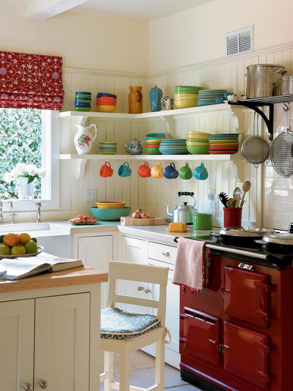 Small L-shaped Kitchen With Red & White Cabinets Dwellingdecor