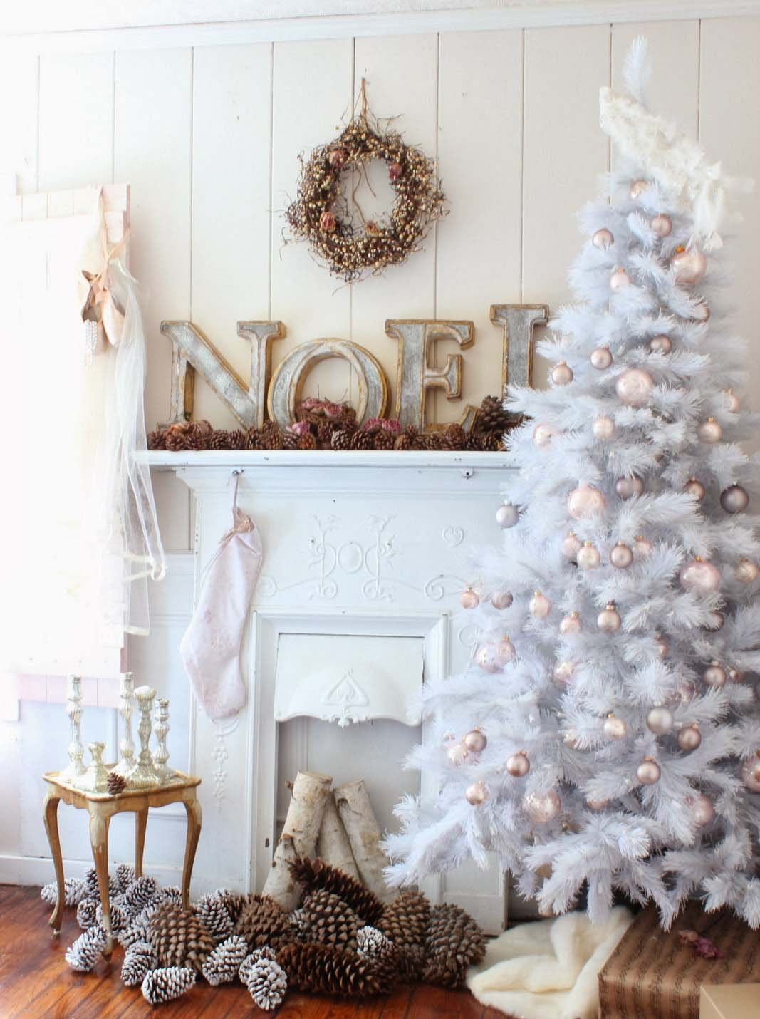 White Tree Adorned With Pink And Silver Ornaments