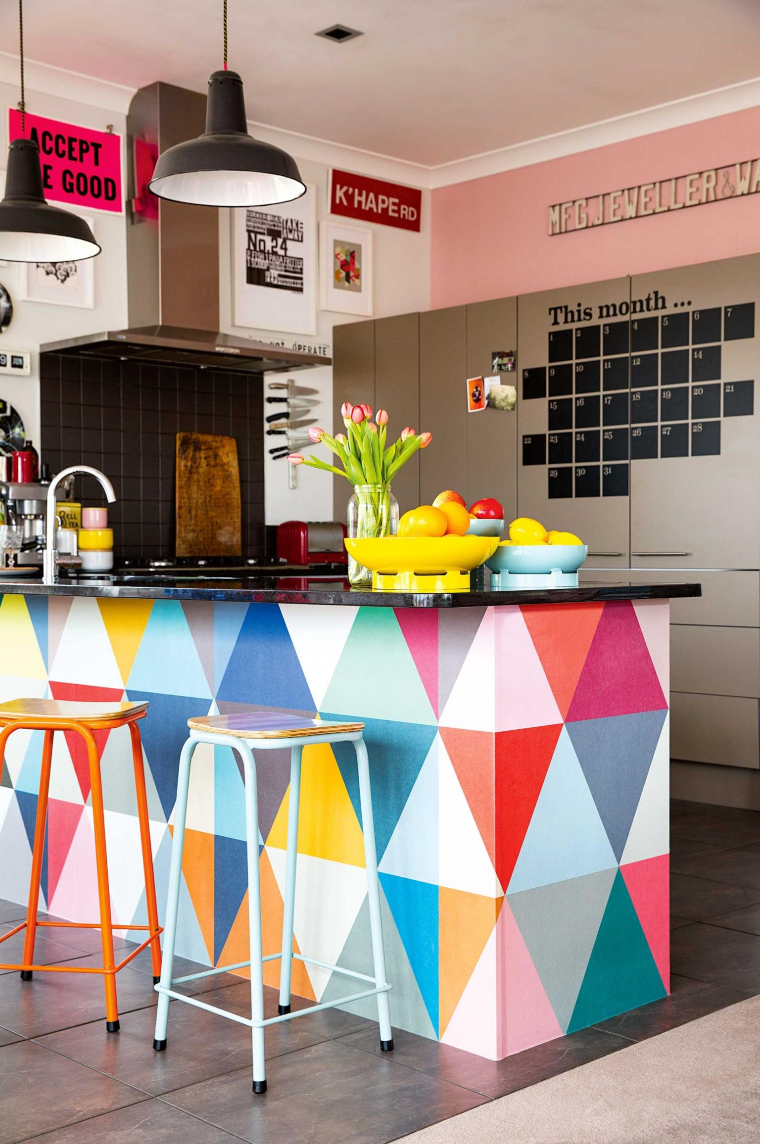 Bright Colorful Kitchen Island dwellingdecor
