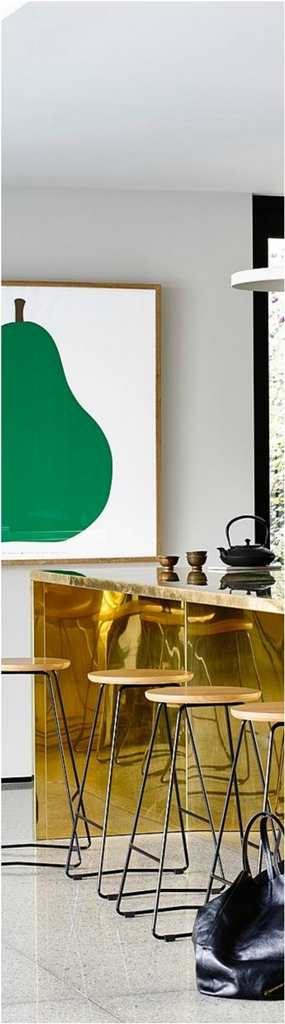 Kitchen Island In Gold Leaf dwellingdecor