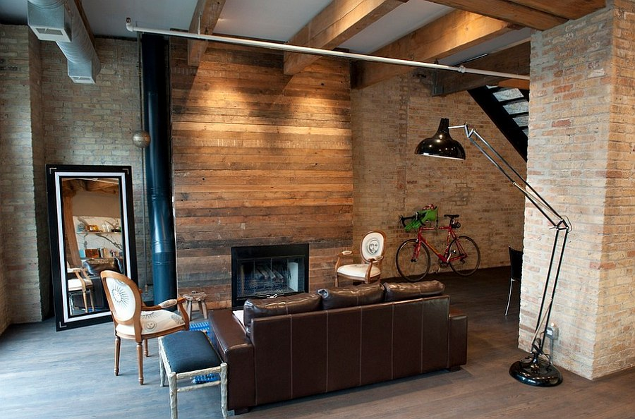 Living room with wood panels exposed brick walls dwellingdecor