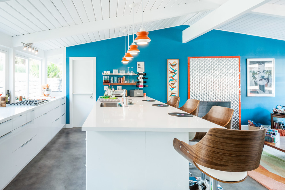 Midcentury Galley Gray Floor Eat-in kitchen With White Cabinets dwellingdecor
