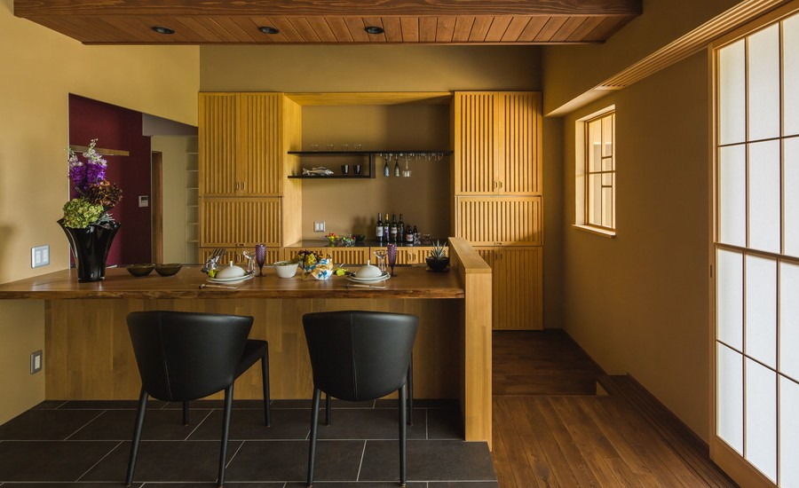 Asian Galley Dark Wood Floor Open Concept Kitchen