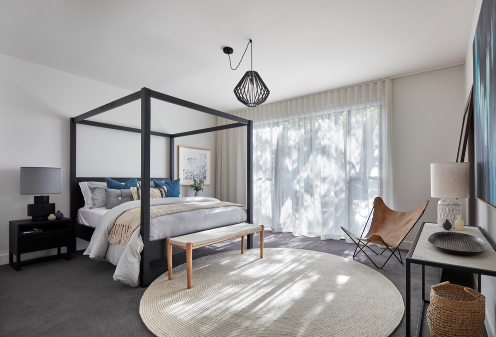 Contemporary Carpeted And Gray Floor Bedroom