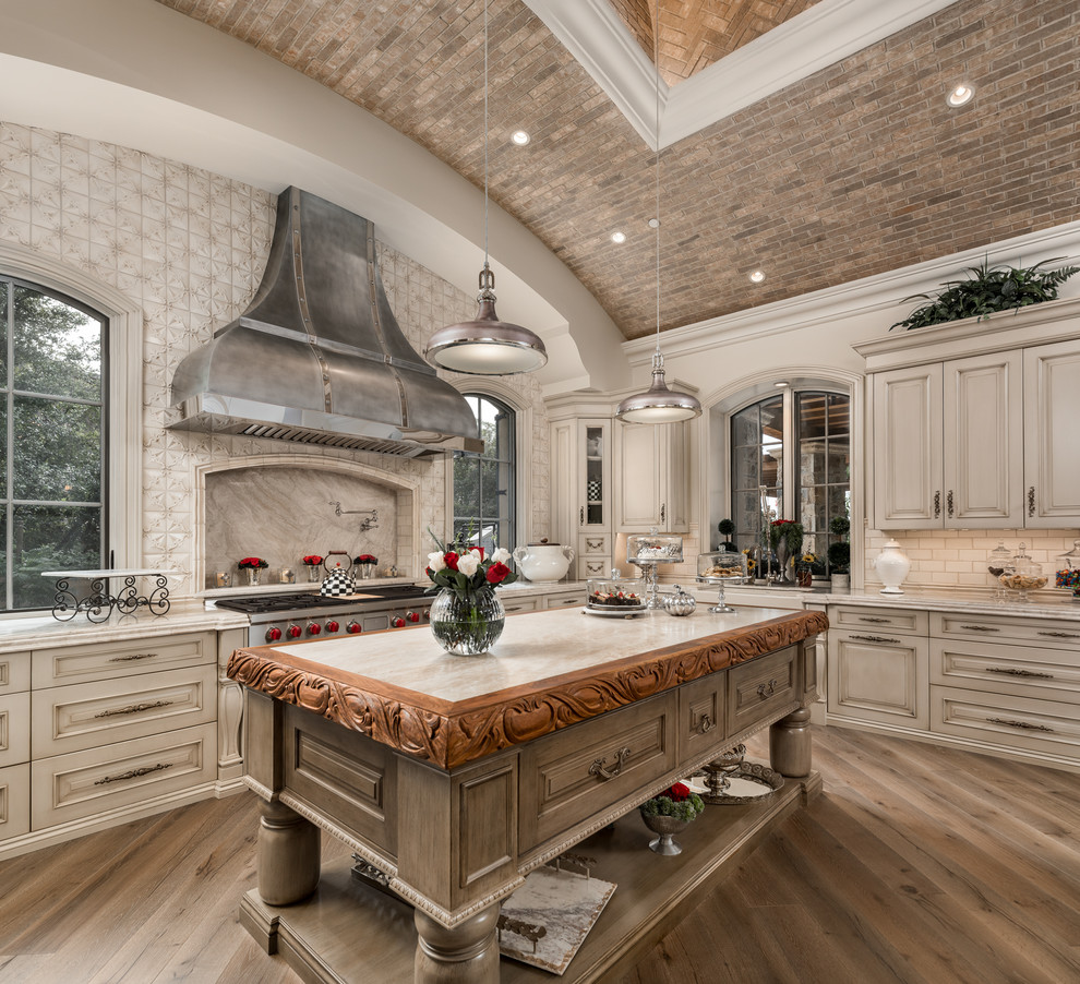 Mediterranean Dark Wood Floor Kitchen