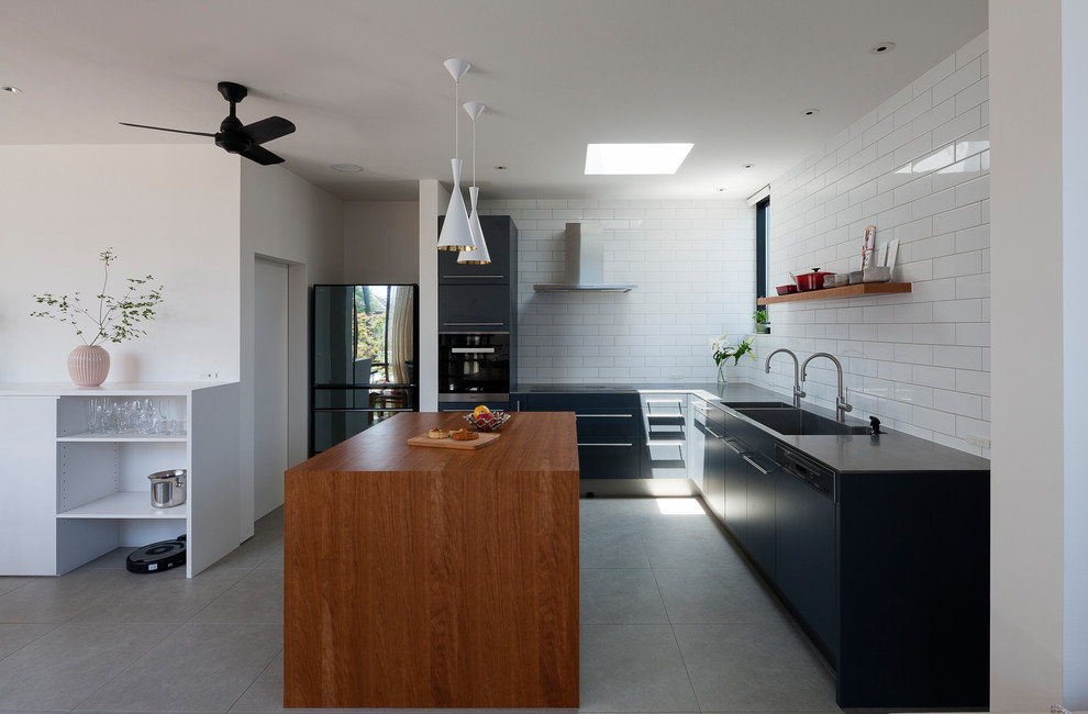 Modern U-shaped Gray Floor Kitchen