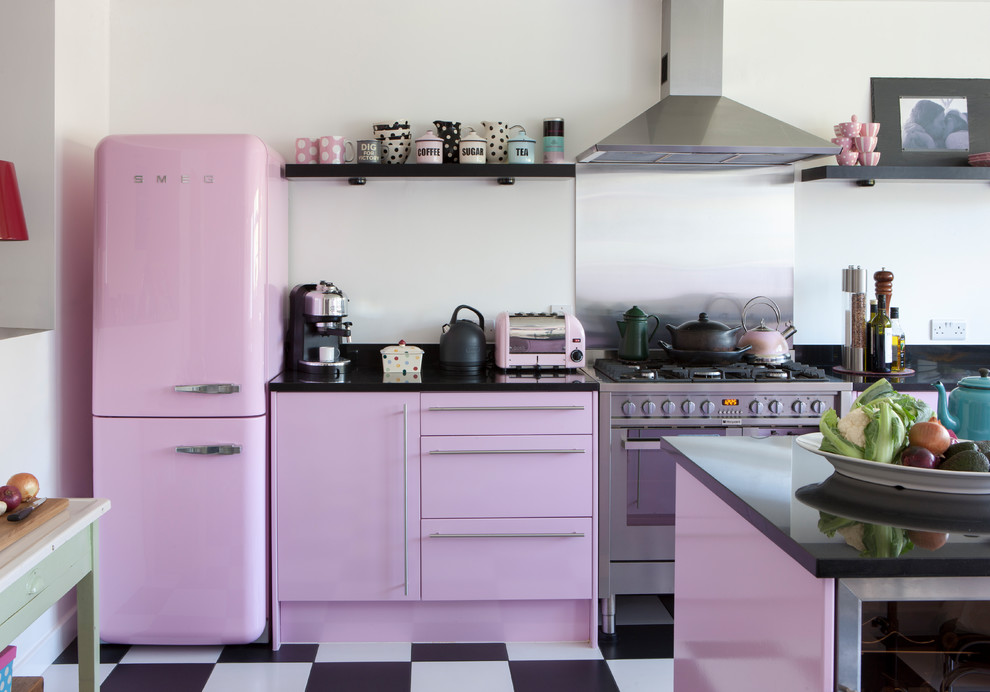 Shabby-chic Style Multicolored Floor Kitchen