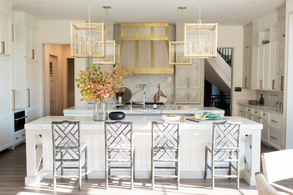 Transitional U-shaped Open Concept Kitchen