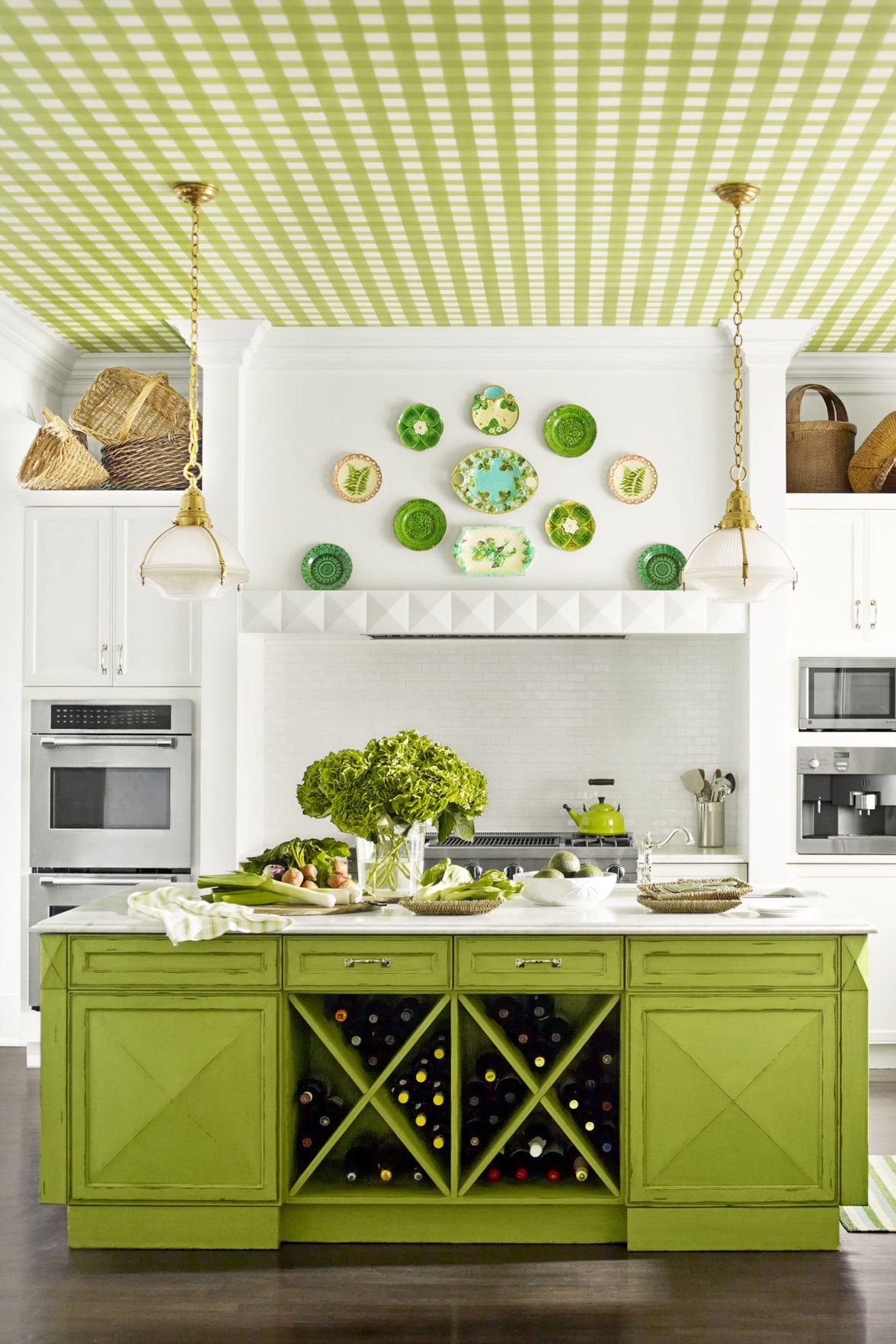 Green Oversized Kitchen Island With Wine Storage Dwellingdecor