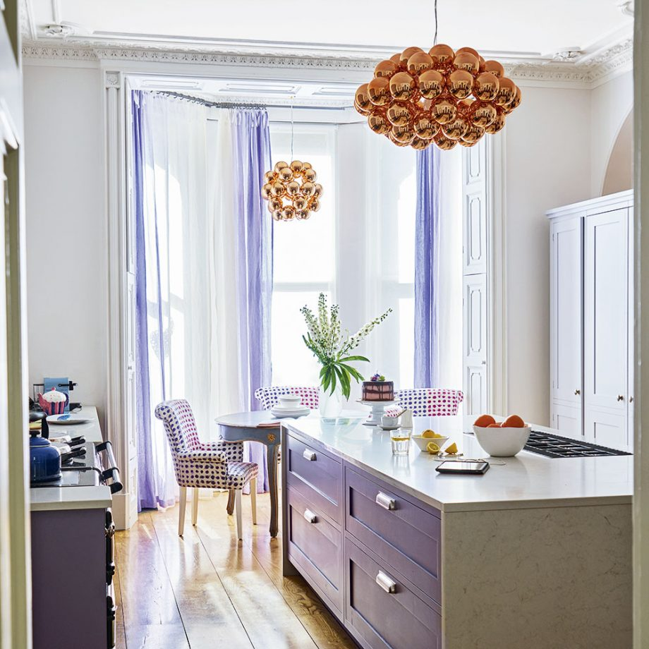 Lilac & Copper Color scheme Kitchen Island Dwellingdecor