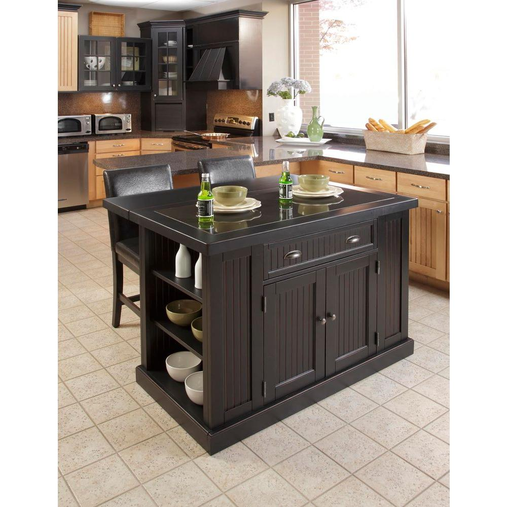 Nantucket Black Kitchen Island With Granite Top Dwellingdecor