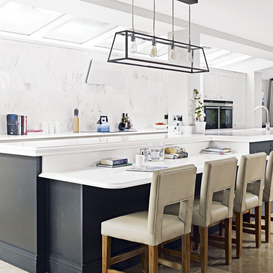 Open Concept White Kitchen & Dark Island Dwellingdecor