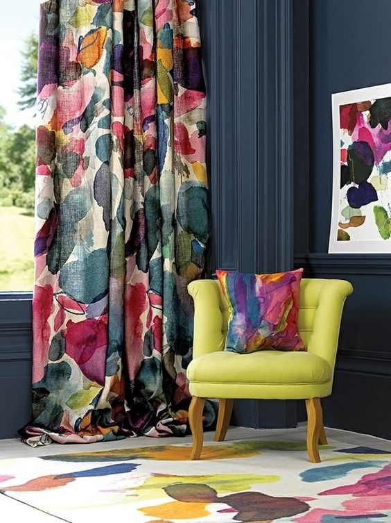 Abstract Fabric Designer living Room Curtains dwellingdecor