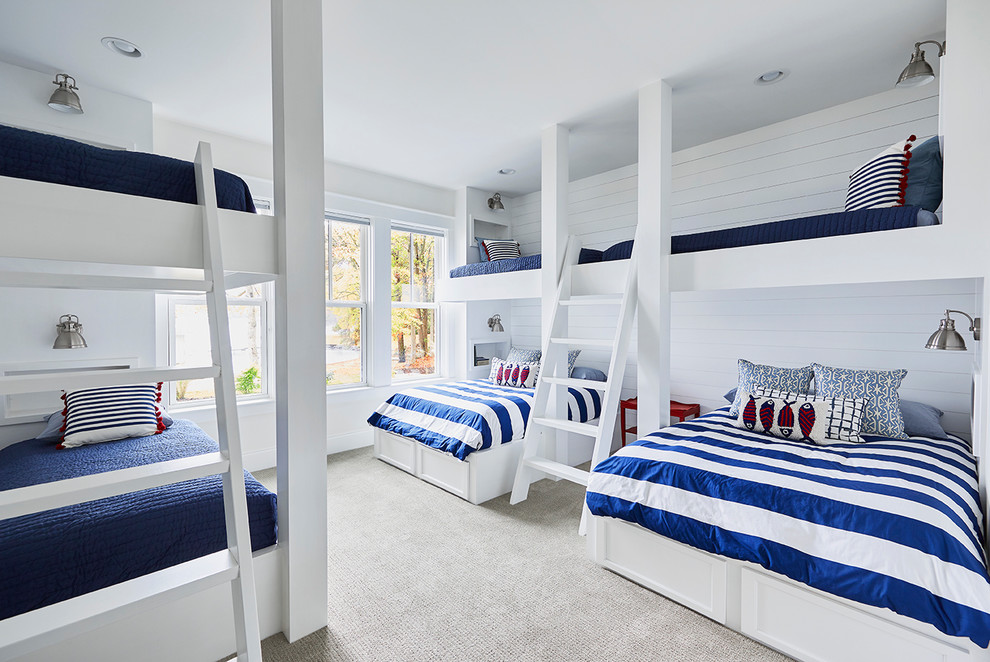 Beach Style Kids Bedroom With Multiple Bunk Beds Dwellingdecor
