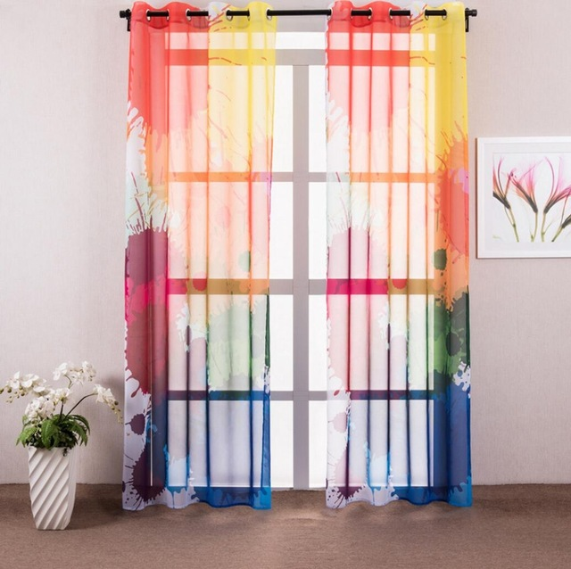 Colorful European Style Sheer Curtain dwellingdecor