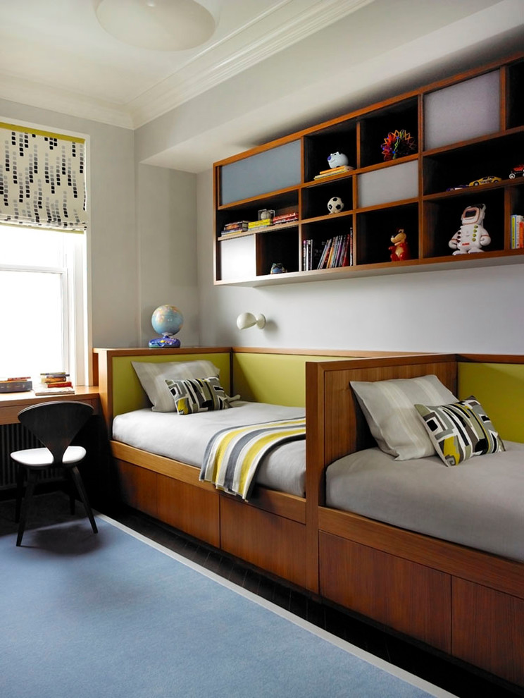 Contemporary Kids Bedroom With Twin Single Bed Dwellingdecor
