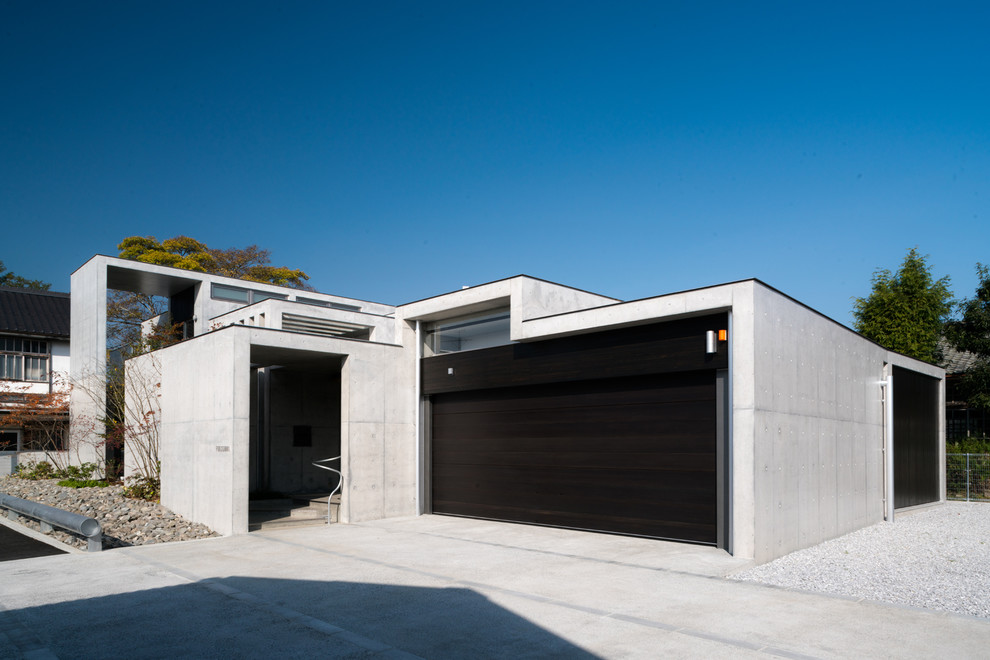 Industrial Style Garage With Concrete Construction Dwellingdecor