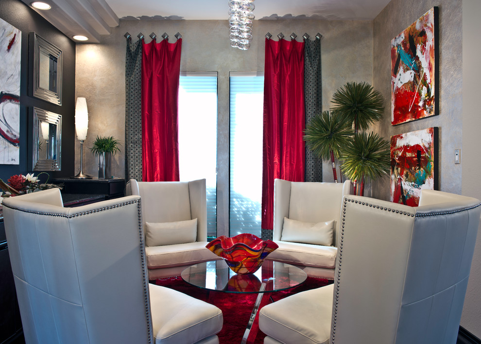 Modern Living Room With Red & Grey Curtains