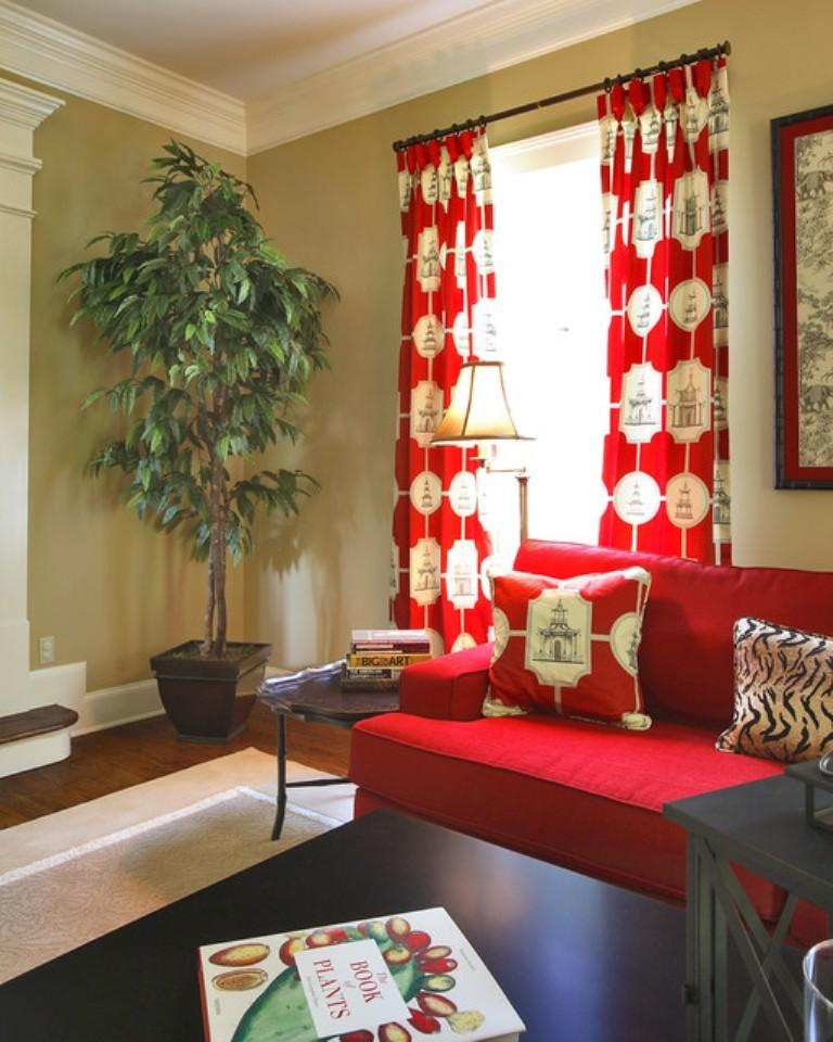 Red and White Living Room Curtain dwellingdecor